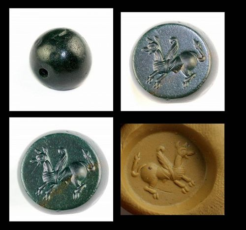 Important Green Jaspis Stamp Seal w Pegasus, Sassanian, 3rd.-4th