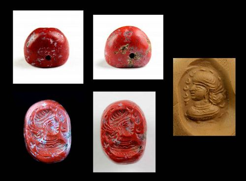 Red Jaspis Sassanian stamp seal w portrait and Pahlevi inscription