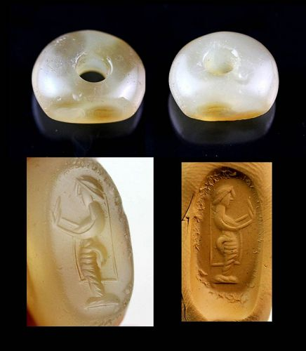 Large Sassanian Chalcedony stamp seal with Court Lady, 3rd.-5th. cent