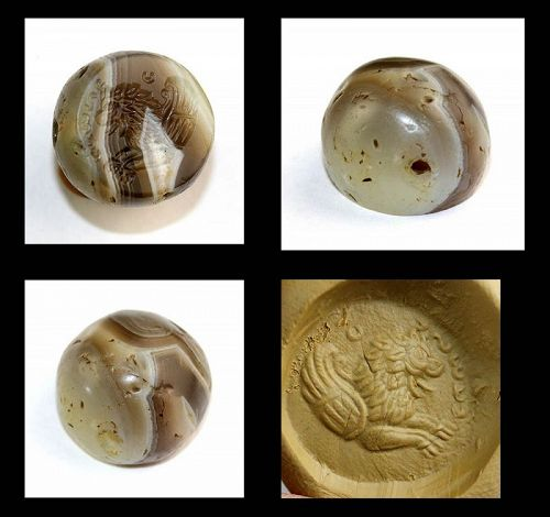 Spendid large Banded Agate Sassanian seal w winged Lion & Pahlevi