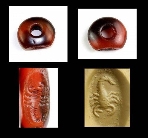 High Quality Sassanian Carnelian seal with Scorpio, 4th.-6th. cent. AD