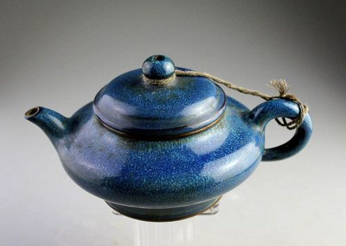 High quality vintage Chinese signed Yixing teapot w cobalt glaze!