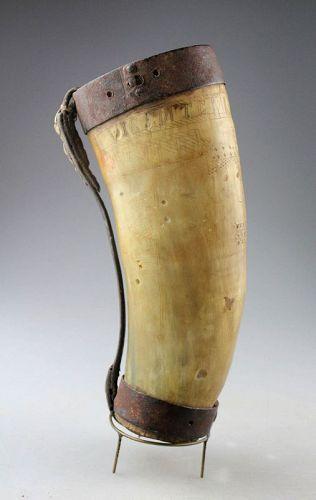 Inscribed bulls horn vessel, Indian Navajo, classic period pre 1850s