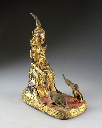 Fine Gilt Bronze Thai buddha w Elephant and Monkey!