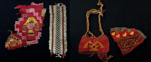 Terrific lot of 4 fine Chancay textiles, 11th.-15th. century AD!