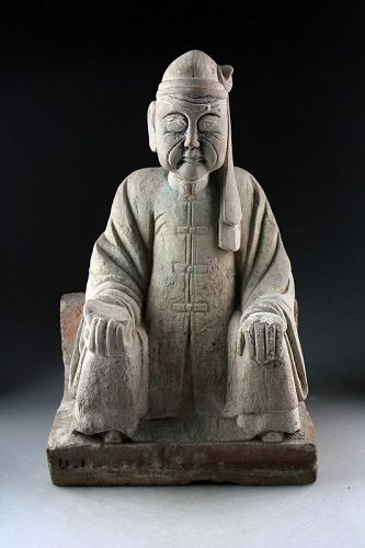 China Ming Dynasty stone carving of a Daoist figure, 13th.-16th. cent.