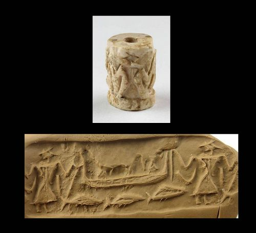 Important Mesopotamian Shell Cylinder seal, Enkis Voyage by Boat!