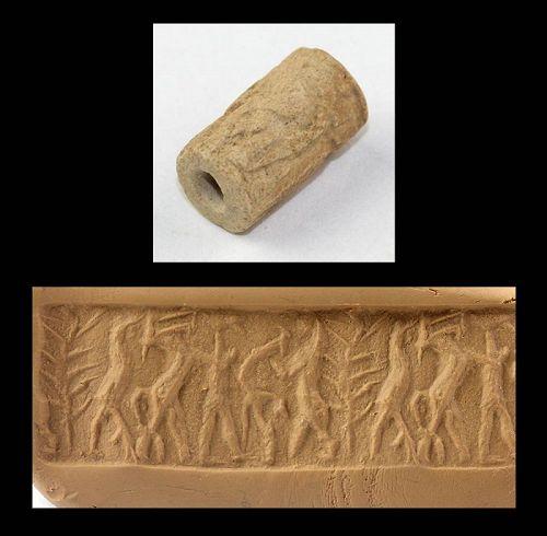Ancient Mesopotamian Cylinder seal w Gilgamesh myth, 2600 BC