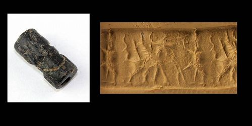 Middle Assyrian black stone Cylinder seal ca. 1400-1200 BC