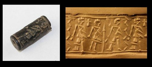 Choice Syro-Cappadocian black stone Cylinder seal, 2nd. mill. BC
