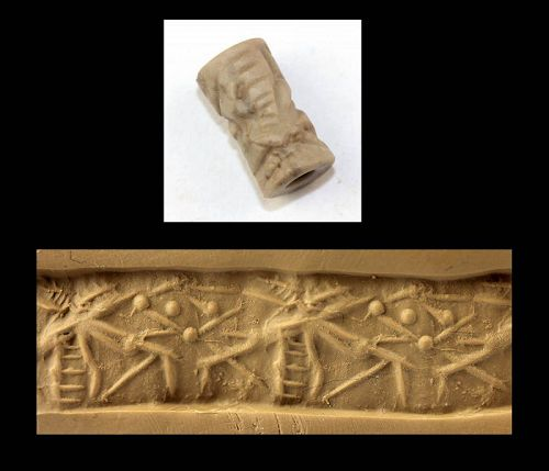 Beautiful Neo-Assyrian hardstone cylinder seal, with contest scene!