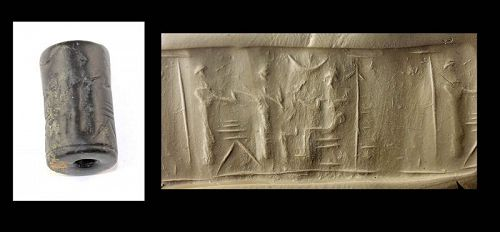 Massive Old Babylonian Black Serpentine Cylinder seal, 2000-1600 BC