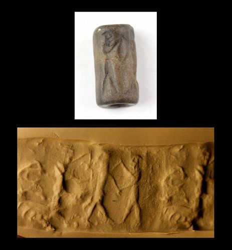 Attractive Old Babylonian Cylinder seal with Hero fighting demon!