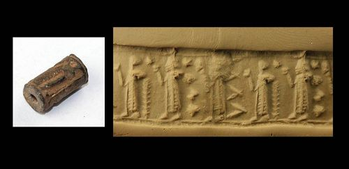 Fine Syrian blackstone cylinder seal, Assyrian period, 2nd. mill. BC
