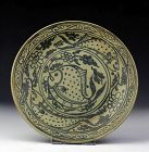 Sukhothai / Sawankhalok Blue & White glazed pottery Dish, 15-16th cent