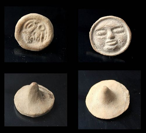 Scarce pair of Pre-Columbian Stamp seals, Mayan, 500-800 AD