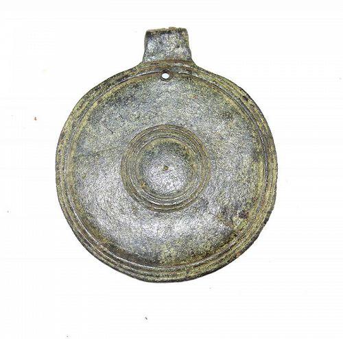 Large Greco-Roman bronze Shield pendant, 200 BC-100 AD