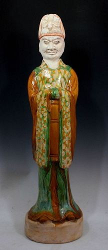 Museum Quality Chinese Tang Dynasty Sancai pottery Dignitary, 103cm!