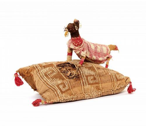 Rare large Chancay pillow with Goat figure of ancient textiles