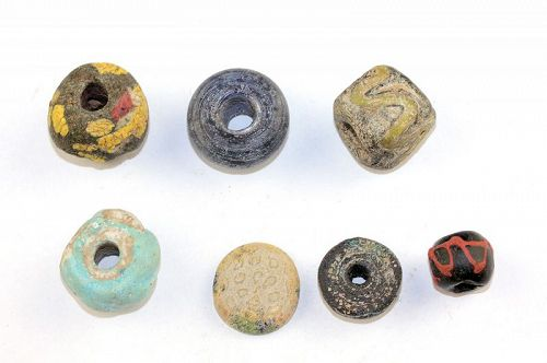 7 ancient large Roman to Islamic built glass beads or hangers!