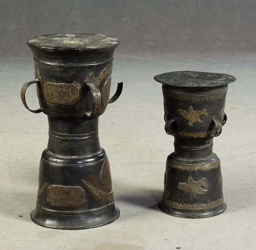 Pair of larger antique bronze currency drums w animals, Moko!