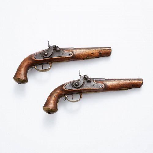 Pair of matching antique European pistols, ca. 1850