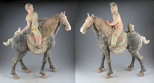 Museum quality pair of Chinese Tang Dynasty pottery Horses and riders!