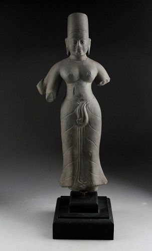 Rare Pre-Angkorian Period hardstone figure of Durga, 7th. cent. AD