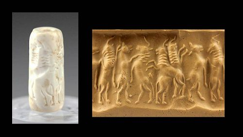 Suberb Mesopotamian hard stone cylinder seal, Early Dynastic!