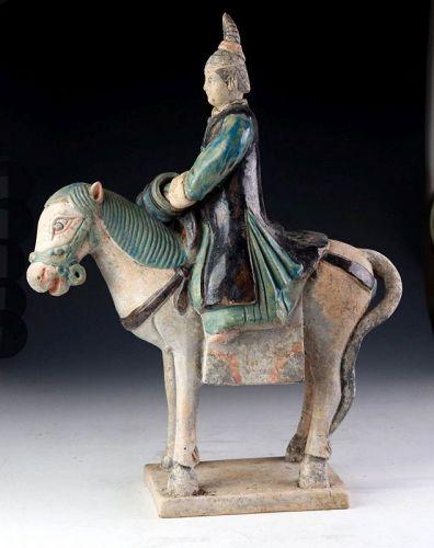 Large & decorative Female Pottery Attendant on Horseback, Ming Dynasty