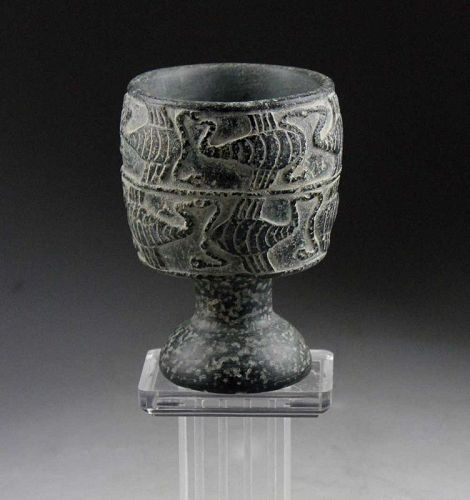 A Bactrian Chlorite stone Chalice w 12 Scorpios, 3rd. millenium BC