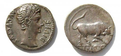 Choice Augustus silver denarius with Bull butting,  27 B.C.- A.D.14