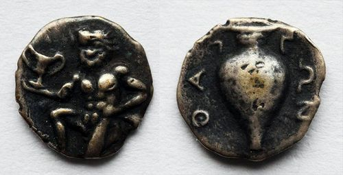Greek coin, Thrace AR silver Trihemiobol 411-350 BC