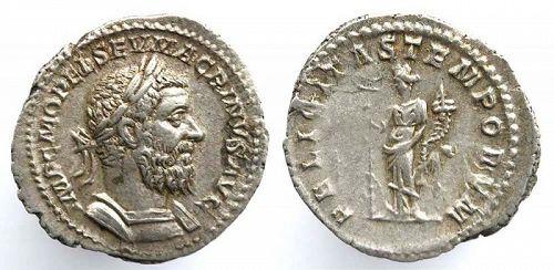 Exceptional portrait Macrinus, Roman silver denarius, 217 A.D.