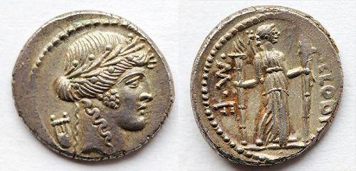 Imperatorial Rome. P. Clodius M.f. Turrinus. 42 BC. AR Denarius