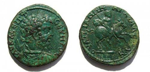 Rare Septimus Severus bronze AE 27 of Anchialus, Emperor on horse!