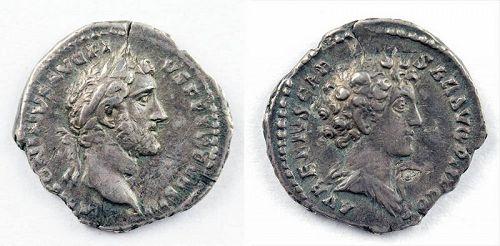 Interesting Double portrait silver denarius Pius & Aurelius, VF!