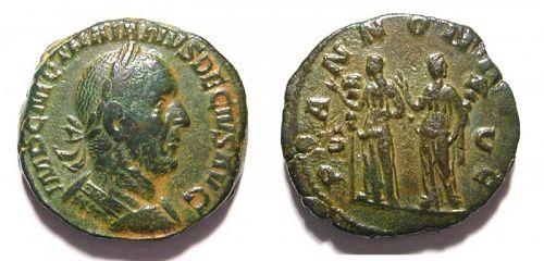 Choice Trajan Decius bronze sestertius, Two Pannoniae, 249-251 AD!