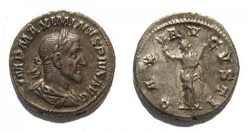 Maximinus Thrax silver denarius, choice style, near EF