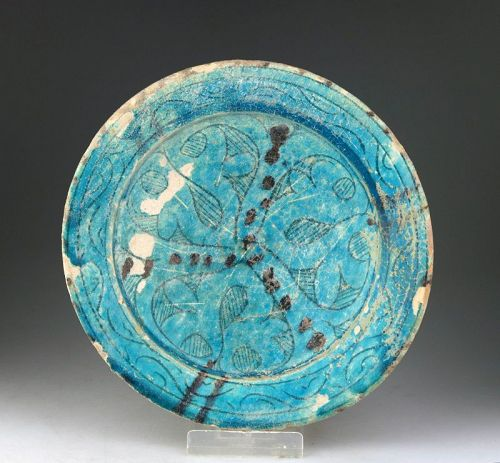 Choice torquoise glazed Islamic pottery Dish, Kashan, ca. 12. cent.