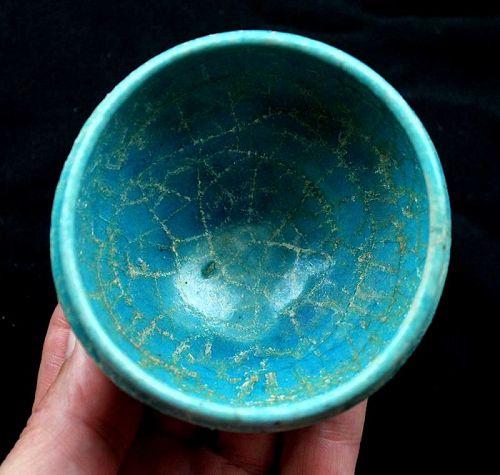 Superb Islamic pottery jar Torquise glaze with rich gold iridescence!