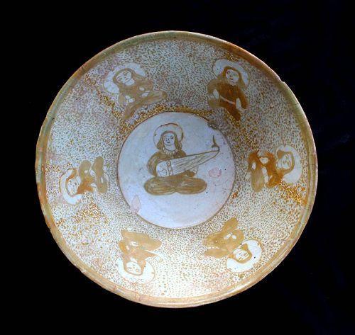 Rare Islamic pottery bowl w musician, Kashan, 12th. cent.