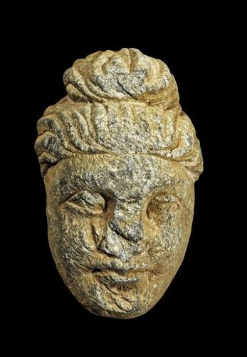 Nice Gandhara scist stone head of Buddha, ca. 1st.-3rd. century AD