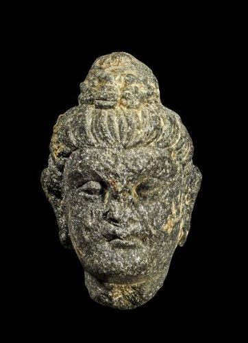 Choice Gandhara scist stone head of Buddha, ca. 1st.-3rd. century AD