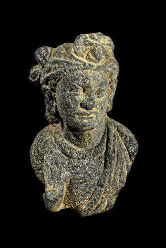 Choice Gandhara scist stone head of bodhisattva 1st.-3rd. century AD