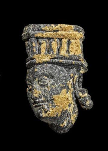 Fine style Gandhara head of a Deity in grey scist stone, 1st.-3rd. cen