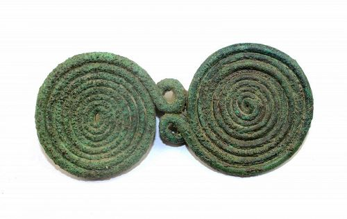 Rare Southern Europe massive bronze Spectacle Fibula, 800-700 BC