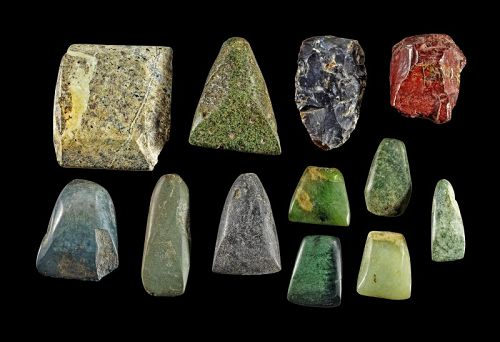 Rare Collection of 12 Egyptian Pre-Dynastic stone axes & tools!