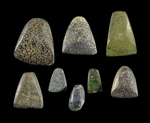 Collection of 8 Pre-dynastic stone axes, Egyptian, 4th. millenium BC