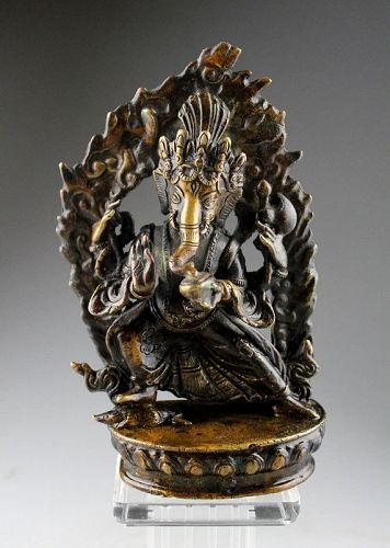 Lovely Nepalese bronze figure of the Dancing Ganesha, 18th. cent.